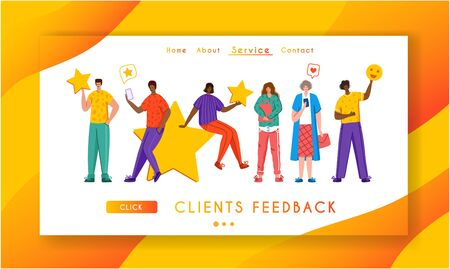 Client feedback concept landing page template, people and giant rating star, gadgets - web banner with place for text, sending customers review and feedback, service evaluation. flat caracters, Vector