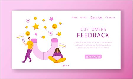 Client feedback concept landing page template, miniature tiny people and giant magnet, web banner with place for text, customers review and feedback, service evaluation. flat people caracters, Vector