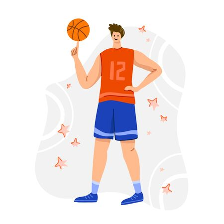 Basketball player with ball on playground, young muscular man in uniform playing match, guy standing and holds sports ball, player train in basketball, flat people - isolated vector for poster, merch