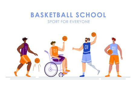 Disabled basketball players with ball, young muscular man in wheelchair, man with prosthetic leg, physical disorder or impairment basketball players, sport inclusion concept, flat people - vector