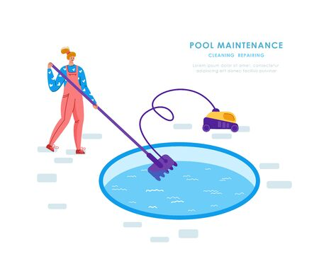 Swimming pool maintenance or cleaning service, girl in uniform clean water with vacuum cleaner, tool for pool servicing or reparing, worker with equipment - flat vector for website, landing, banner 일러스트