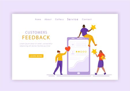Client feedback concept landing page template, miniature tiny girls and giant phone, web banner with place for text, customers review and feedback, service evaluation. flat people caracters, Vector
