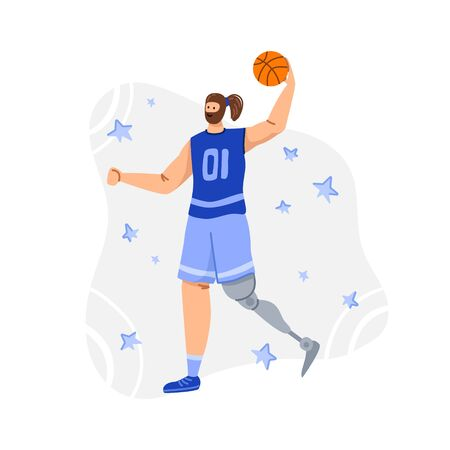 Disabled basketball player with ball, young muscular man with prosthetic leg, physical disorder or impairment basketball player, sport inclusion concept for banner, poster, website, flat people vector 일러스트