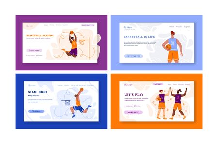 Landing page - basketball players with ball and copy space, text place, muscular athletic men in sport uniform, basketball team train game, banner set for sport academy, website, flat people - vector