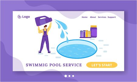 Landing page pool maintenance or cleaning service, young man in uniform clean and chlorinates water in swimming pool, worker with equipment - flat vector banner or landing for website, landing, banner
