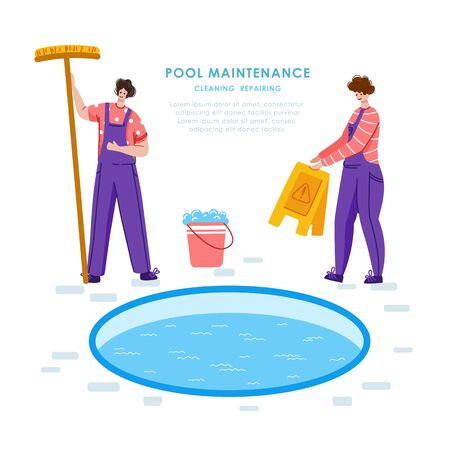 Swimming pool maintenance or cleaning service, two men in uniform clean, taking care swimming pool, worker with tools - flat vector banner or landing for website, landing page, banner 일러스트