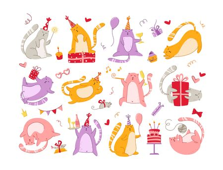 Cats birthday party set - funny kitten in festive hat, gift boxes and presents, birthday cake and drinks, collection vector isolated cartoon hand drawn characters on white background for cards, poster 일러스트