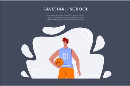 Landing page - basketball player with ball and copy space or text place, muscular athletic man or sportsman in sport uniform - banner for sport academy website, app, flat people - vector