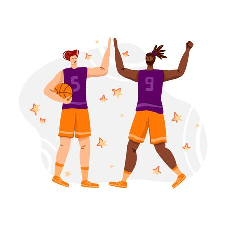 Two basketball players with ball playing game, good teamwork and happiness, illustration with muscular athletic men or sportsmans for banner, poster, website or merch print, flat people - vector