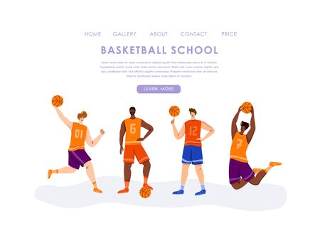 Landing page - basketball players with ball and copy space, text place, muscular athletic men in sport uniform, basketball team train game, banner for sport academy, website, app, flat people - vector