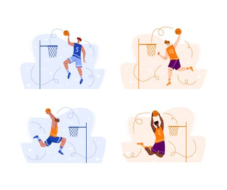 Basketball players jumping with ball on sport playground, muscular athletic men or sportsmen in uniform training - banner set for sport academy website, app, flat people - vector