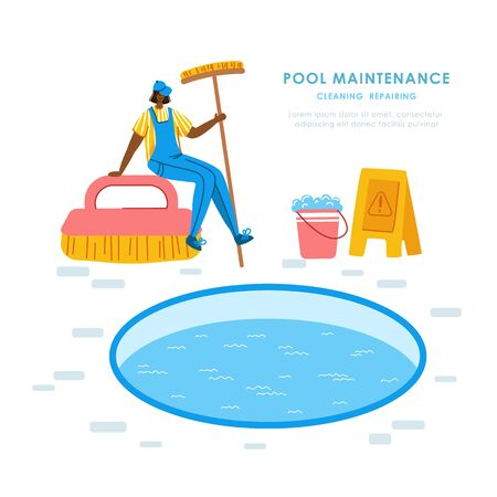Swimming pool maintenance or cleaning service, girl in uniform clean swimming pool with brush and soap, tool for pool servicing, worker with equipment - flat vector for website, landing page, banner