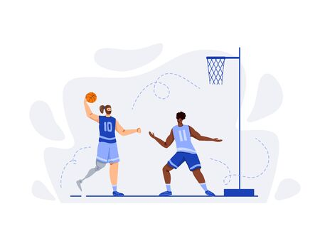 Two basketball players with ball playing game, good teamwork, muscular Disabled athletic man or sportsmans - inclusion concept for banner, poster, website or merch print, flat people - vector