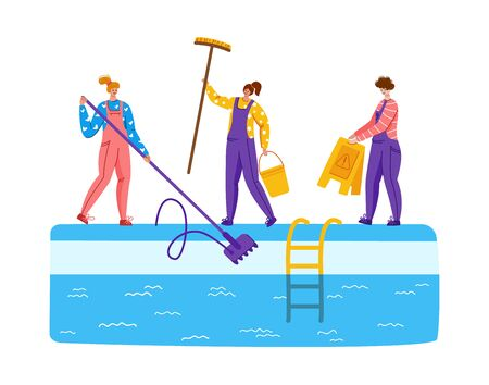 Pool maintenance or cleaning service, group of people in uniform, cleaning products for swimming pool, workers with equipment - test water, net, broom, flat vector for website, landing page, banner Stock Illustratie