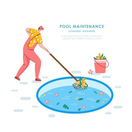 Swimming pool maintenance or cleaning service, young man in uniform cleans swimming pool and collects trash, worker with lump or net - flat vector banner or landing for website, landing, banner