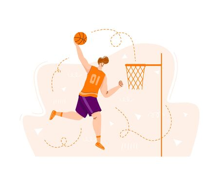 Basketball player jumping with ball on sport playground, muscular athletic man or sportsman in uniform training - banner for sport academy website, app, flat people - vector