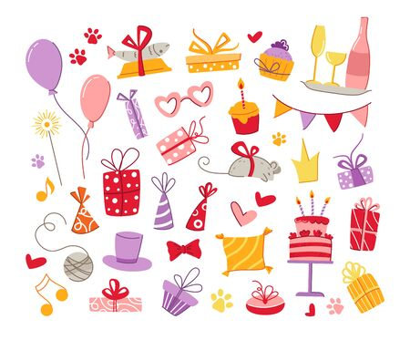 Cats birthday party pets accessories set - gift boxes, food, pillow, fish, mouse, holiday flags and balloons, birthday cake and drinks, vector isolated cartoon flat objects on white background 일러스트
