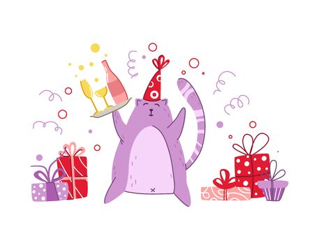 Cats birthday party greeting card - funny kitten in festive hat with gift boxes or presents, birthday drinks, vector isolated cartoon flat character on white background for card, poster, clothes print