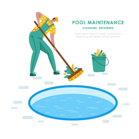 Swimming pool maintenance or cleaning service, young man in uniform man sweeps floor and collects leaves, worker with broom - flat vector banner or landing for website or company, landing, 일러스트