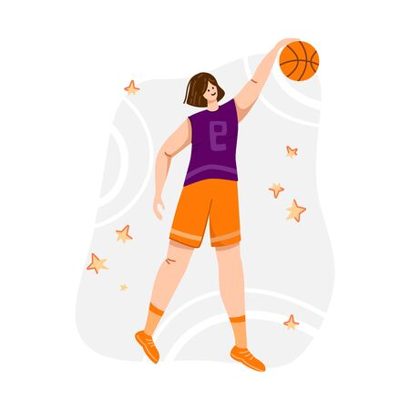 Basketball player with ball on playground, young muscular woman in uniform playing match, girl jumping and holds sports ball, player train in basketball, flat people - isolated vector for poster