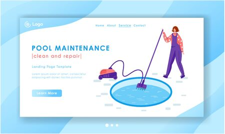 Landing page pool maintenance or cleaning service, girl in uniform clean water with vacuum cleaner, tool for pool servicing reparing, worker with equipment - flat vector for website, landing, banner 일러스트