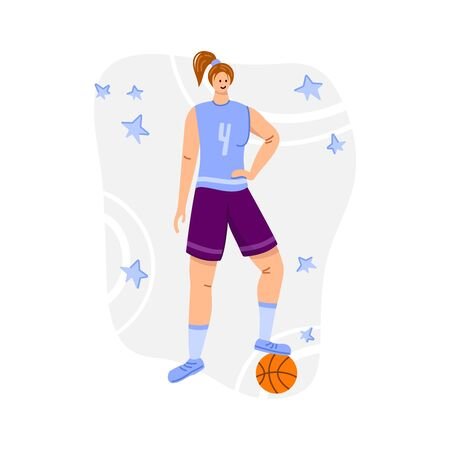 Basketball player with ball on playground, young muscular woman in uniform playing match, girl holds sports ball, player train in basketball, flat people - isolated vector for poster