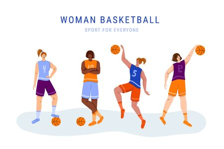 Basketball players with ball - set of isolated girls characters, African American and white women playing, jumping with ball, muscular basketball players - isolated flat vector for poster, merch
