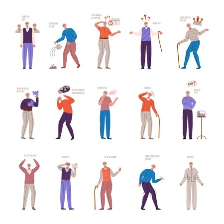 old people with dementia signs and symptoms, aged senior men with mental problems, Alzheimers or Parkinsons disease - memory loss, insomnia, disorientation, headache, slurred speech - vector isolated Illustration
