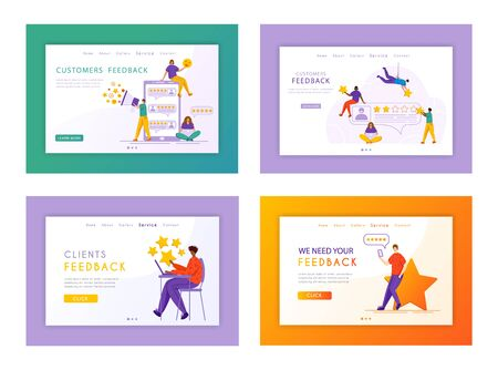Client feedback landing page set - tiny people and giant rating stars, gadgets, web banner with copy space, customers review and feedback, online service evaluation. flat cartoon caracters, Vector 일러스트