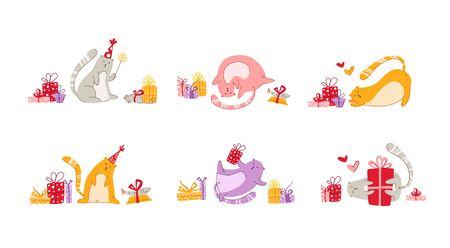 Cats birthday party set funny kittens in festive hat, gift boxes and presents, toys, birthday cake and drink, cute vector isolated cartoon characters on white background for greeting card, poster 일러스트