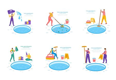 Pool maintenance or cleaning service, group of people in uniform, cleaning products for swimming pool, workers with equipment - test water, net, broom, flat vector for website, landing page, banners