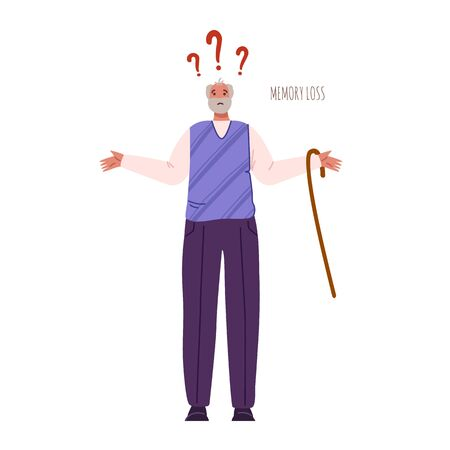 Alzheimers or Parkinsons disease - confused old man with dementia signs and symptoms, memory loss, aged senior men with mental problems - flat vector isolated on white