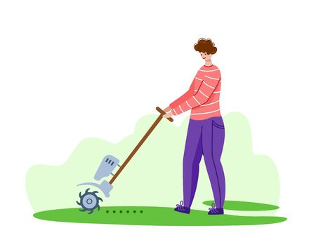 Lawn care and aeration service, man with garden tool aerates grass on backyard, gardening landscaping concept, flat vector on white background, vector for web, app Vetores