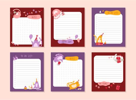 Cats birthday planner or personal stationery organizer or stickers set with notes and to do list for daily plans, schedule with flat cartoon pets or kittens on white - vector printable page template