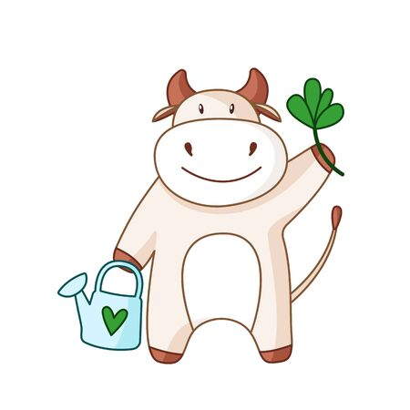 White cartoon ox, bull or cow kawaii summer character with plant ant watering can for garden isolated on white for calendar, poster, greeting card, 2021 symbol, cute farm animal - vector illustration