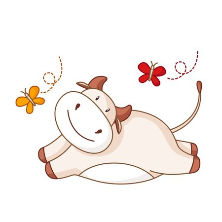 White cartoon ox, bull or cow kawaii summer character with butterfly isolated on white for calendar, poster, greeting card, 2021 symbol, cute farm animal - vector illustration