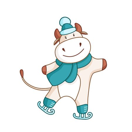 White cute ox, bull or cow skating in winter blue scarf kawaii cartoon character isolated on white for calendar, poster, greeting card, 2021 symbol, cute farm animal - vector illustration
