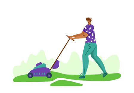 Lawn care and gardening - man with lawn mower on backyard outdoor