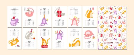 Cats birthday party calendar 2021 - funny kitten in festive hat, gift boxes and presents Illustration