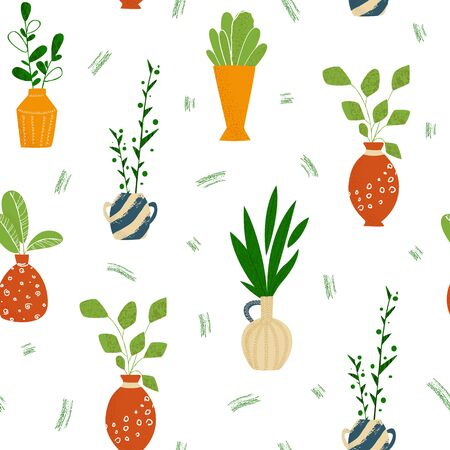 Indoor potted plants or home flowers seamless pattern on white. Vecteurs