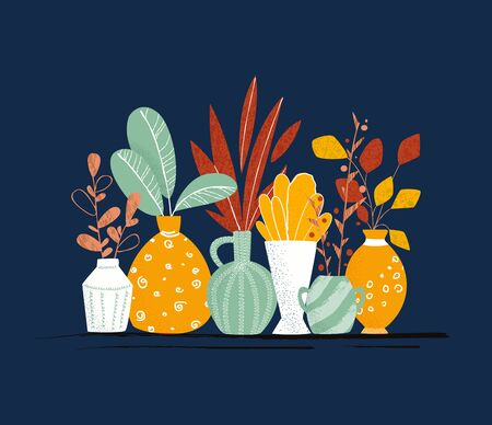 Set of Indoor garden potted plants or home flowers - isolated items on balck background. Vecteurs