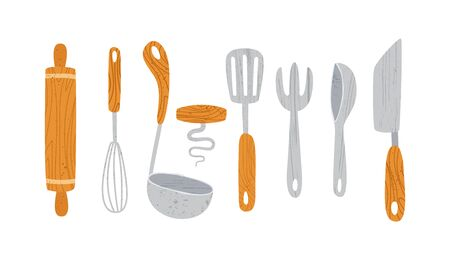 Kitchen utensil or kitchenware design elements - spoon, bowl, fork roller pin, pan isolated on white. Trendy textures on cartoon kitchen items. tableware flat hand drawn vector set provencal style Illustration