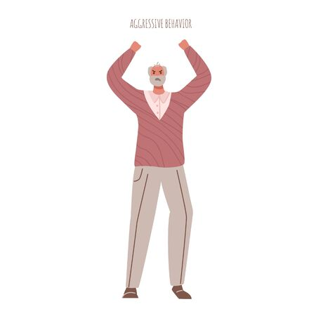 Alzheimers or Parkinsons disease - angry aged senior men with mental problems aggressive behavior and evil mood, old people with dementia signs and symptoms - vector isolated person on white