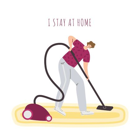 Man is cleaning room at home with a vacuum cleaner, stay home activities for people in covid-19 isolation time, modern flat cartoon people character isolated on white - vector illustration