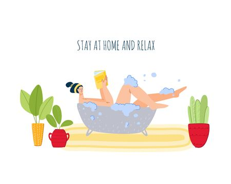 Stay home concept - girl takes a bath and reads book, resting, home activities for people in covid-19 quarantine time, literature fan and healthcare concept, flat cartoon character vector illustration