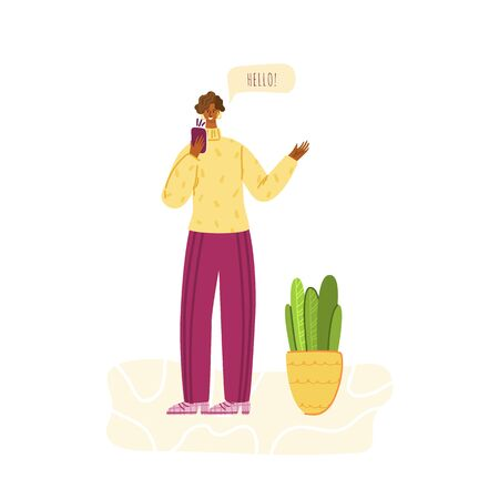 Stay home concept - girl talking on the phone, gesturing and smiling, relaxes, rests, home activity for people in covid-2019 isolation time, female character doing yoga, vector isolated illustration Illustration