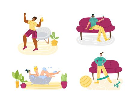 Stay home concept - women and home activities for covid-19 quarantine isolation - taking bath, dancing, sport exercise and resting,, flat cartoon characters isolated on white - vector illustration