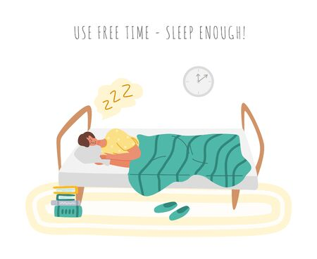 Stay home concept - man is sleeping in cozy bed, home activity for covid-19 quarantine isolation - rest and sleep enough, flat cartoon character in bedroom isolated on white - vector illustration Illustration