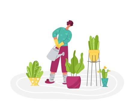 Stay home concept - women her home activity for covid-19 quarantine isolation - indoor gardening or plant growing, flat cartoon girl and potted plants isolated on white - vector illustration 向量圖像