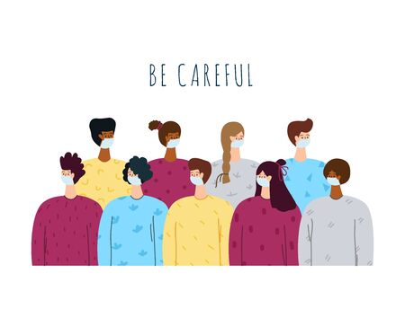 Coronavirus covid-19 concept - women and men in crowd, group of people in medical protective face mask together, flat cartoon characters isolated on white - vector illustration